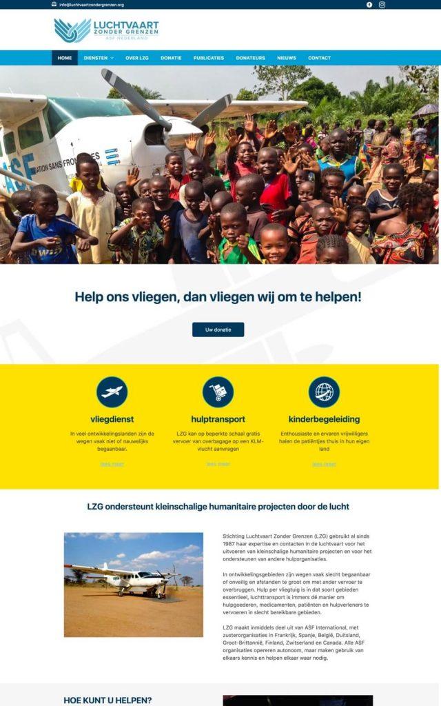 Websie gemaakt voor Luchtvaart Zonder Grenzen