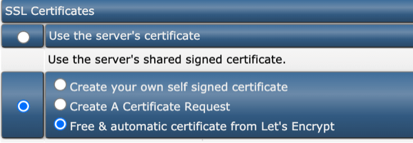 free & automatic certificate from Let's Encrypt