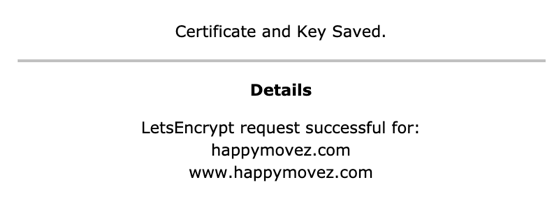 letsencrypt melding: request successful